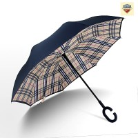 Payung Terbalik Yellow Plaid Gagang C / Reverse Umbrella Handle C