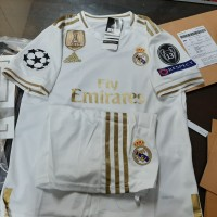 JERSEY BAJU BOLA REAL MADRID HOME KIDS 19/20 FULLPATCH UCL GRADE ORI