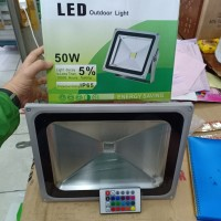 LAMPU SOROT LED SMD WARNA RAINBOW RGB 50W REMOTE INDOOR OUTDOOR IMPORT