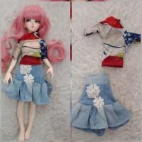 baju boneka bjd 1 4 minifee rok jeans bunga