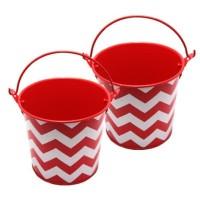 vas bunga kaleng ember tin bucket Jumbo merah chevron putih