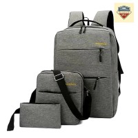Tas Backpack Pria Wanita 1 Set Isi 3 Pcs Anti Air USB Port - Abu Muda