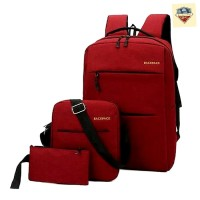 Tas Backpack Pria Wanita 1 Set Isi 3 Pcs Anti Air USB Port - Merah