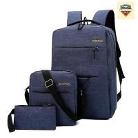 Tas Backpack Pria Wanita 1 Set Isi 3 Pcs Anti Air USB Port - Biru