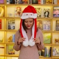 Santa Hat - Topi Santa Plus Lampu Led Dan Kumis Gerak New