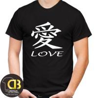 T-Shirt Kaos Baju Distro Premium Round Neck Pria Wanita Love A27
