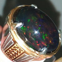 Batu Cincin Black Opal kalimaya Besar Jumbo Kembang Jarong Asli