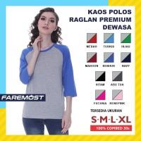 Faremost Kaos Polos Wanita Raglan Lengan 3/4 ABU MISTY - Tangan warna