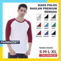 Faremost Kaos Polos Pria Raglan Lengan 3/4 Putih - Tangan warna