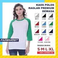Faremost Kaos Polos Wanita Raglan Lengan 3/4 PUTIH - Tangan warna