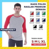 Faremost Kaos Polos Pria Raglan Lengan 3/4 ABU MISTY - Tangan warna