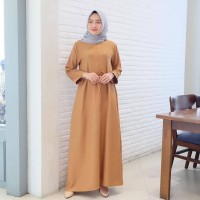 Gamis Wanita Britni Pearl Dress Moscrepe Dress Muslim Warna Salem