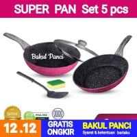 BOLDe SUPER PAN SET BLACK PINK WAJAN PANCI Granite Ceramic Frypan Wok