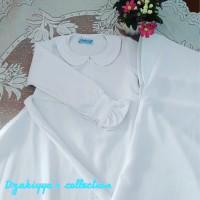 Gamis anak warna putih set jilbab bahan mosscrepe