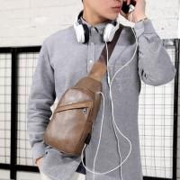 Tas Selempang Kulit Pria / Waistbag PU Leather Premium