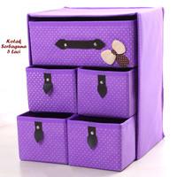 Kotak Serbaguna 5 Laci PURPLE (Kotak utk tempat pakaian dalam)