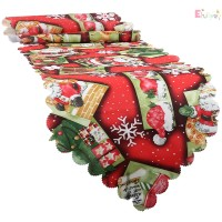 Christmas Holiday Santa Claus Tablecloth Embroidered Table Runner