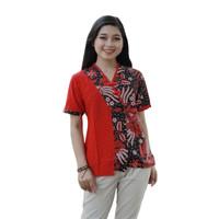 Blouse Batik Wanita Kombinasi Embos Manggar Merah