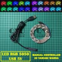 LED Strip RGB 5050 USB (Lampu Hias Meja PC TV) + Manual Control
