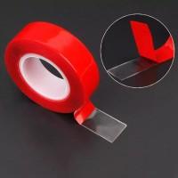 Double Tape Transparan Adhesive Selotip Strip Pita Transparent Sticker