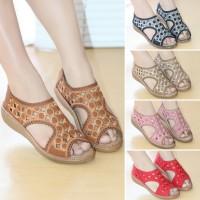Sepatu Wanita Laser Motif Bordir Sendal Selop Mulan 2290