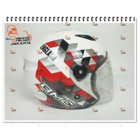 BMC HELM MILAN WORD SOCCER SPAIN 2018 WHITE RED HALF FACE