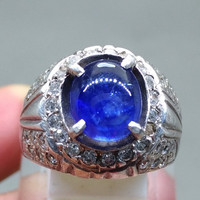 Natural Batu Cincin Blue Safir asli Natural Mantap