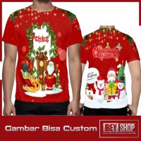 Kaos T-shirt Pria Fullprint Merry Christmas 2019 Art001