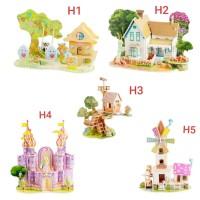 Mainan Anak Puzzle 3D DIY Rumah / Istana