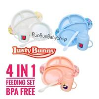 Feeding Set LUSTY BUNNY 4 in 1 Peralatan Makan Bayi Baby Gift Set