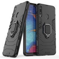 VIVO V9 Pro - Y85 Black Panther Slim Rugged Standing Ring Armor Case