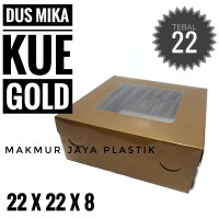 [ DUS KUE MIKA - EMAS 22 ] PAPER BOX DUS GOLD TUTUP MIKA 22 X 22