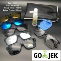 Paket Frame kacamata Clip on Klip on 5 lensa Magnet Free Lensa Minus