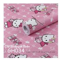wallpaper dinding sticker motif hello kitty pink 45 cm x 10 m