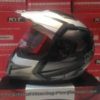 Helm KYT Enduro Black White Silver Supermoto #1