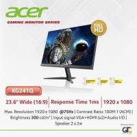 LED GAMING MONITOR ACER KG241Q 75Hz 1MS 23.6 INCH AMD FREESYNC