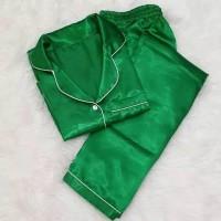 Baju Tidur Cewek/Wanita Piyama/Pajamas Satin Polos Hijau (PP)