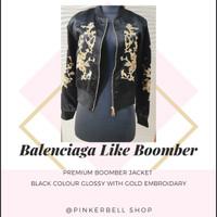 Balenciaga excellent premium boomber jacket black w/ gold embroidary
