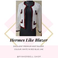 Hermes blazer Excelent premium Knit Blazer white colour red blue line