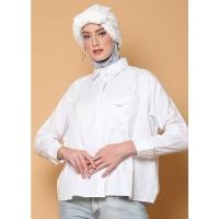 KNW Off White Mia Oversize Shirt - Kemeja Wanita