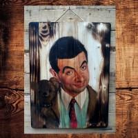 Poster Lukisan Mr Bean Mrbean Lucu Boneka Vintage Jatibelanda Bakar