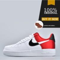 Sepatu Sneakers Original Sepatu Nike Air Force 1 '07 Lv8 1 - White Red