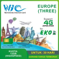KARTU SIM CARD DATA INTERNET EUROPE EROPA THREE TRI + COVER 73 NEGARA