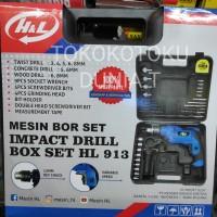 Mesin Bor Listrik Set H&L 13mm Impact Drill Box Set Komplit HnL HL913