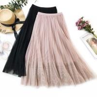 Rok tutu dewasa panjang / maxi lace / brokat mesh skirt hitam / putih