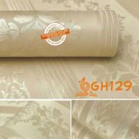 Wallpaper Sticker Dinding Polos Gold/Emas Tekstur Batik Bunga