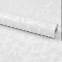 Wallpaper Sticker Dinding Polos Putih 3D Tekstur Bunga