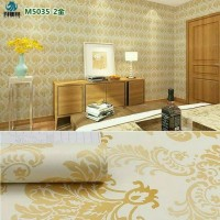 Wallpaper Sticker Dinding Motif Batik Putih Gold/Emas