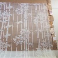 sticker kaca motif bambu putih