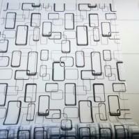 sticker kaca motif persegi panjang hitam